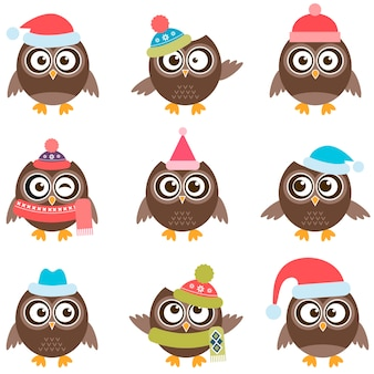 Cute owls with hats