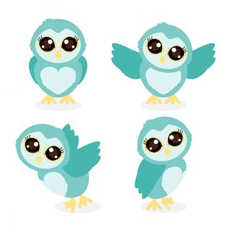 Cute owlt cartoon doodle vector collection set