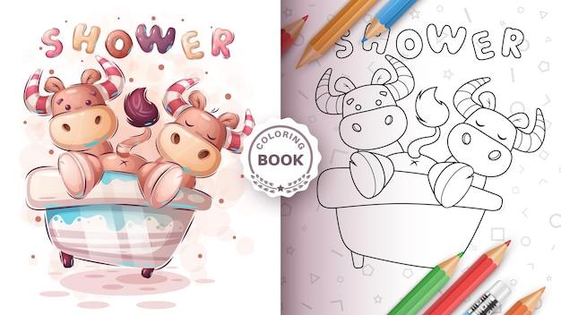 Cute ox, bull in bathroom - coloring book