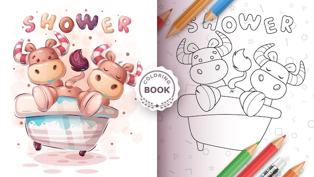 Милый бык, бык в ванной - книжка-раскраска