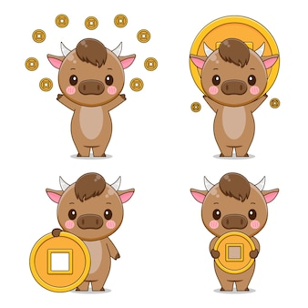 Cute ox character holding coin isolated set