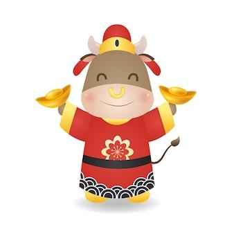 Милый бык в китайском костюме улыбается, держа золото в обеих руках. вектор мультяшного стиля, изолированные на белом.