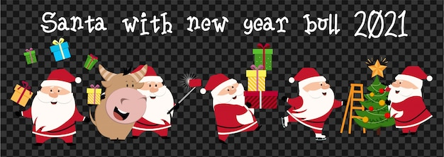 Cute ox, cow, bull with santa. 2021 transparent background with cow. ox horoscope sign. chinese year of ox 2021.