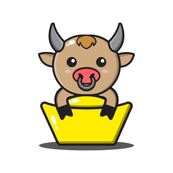 중국 새 해에 금을 포옹하는 귀여운 황소