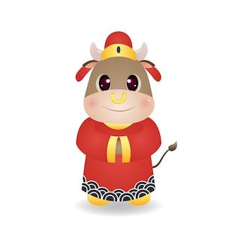 Милый бык в костюме китайского стиля. китайский новый год приветствие картинки. вектор персонажа из мультфильма, изолированные на белом.