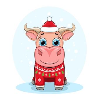 Симпатичный бык в шапке деда мороза и рождественский уродливый красный свитер, символ нового года 2021, иллюстрация