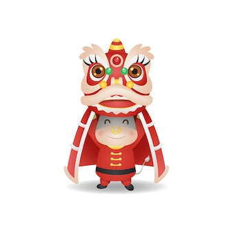 Милый бык исполняет танец льва на лунный новый год 2021. вектор в китайском стиле, изолированные на белом