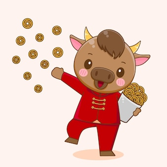 Cute ox sharing coins