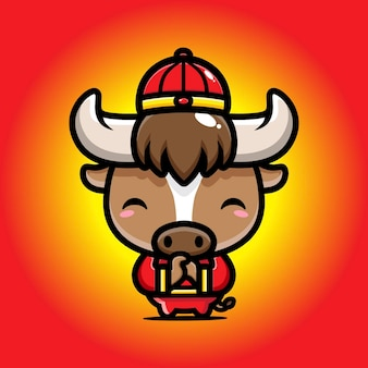 Cute ox welcomes chinese new year