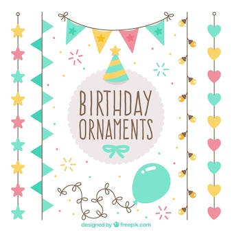 Cute pack birthday ornaments