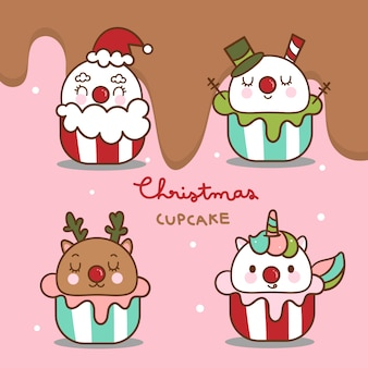 Cute pack of christmas cupcakes vector