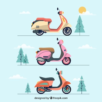 Cute pack of electric scooters