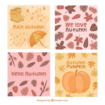 Carino confezione di carte di autunno disegnate a mano