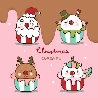 크리스마스 컵 케이크 벡터의 귀여운 팩