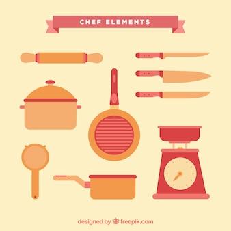 컬러 요리사 요소의 귀여운 팩