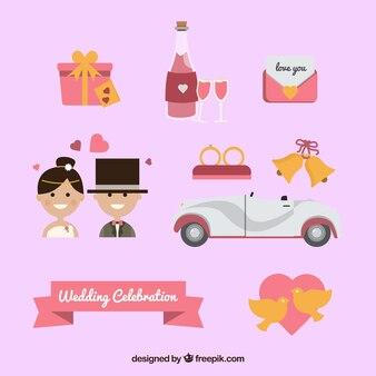 Симпатичный набор элементов для свадебного торжества
