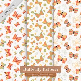 플랫 나비 패턴의 귀여운 팩