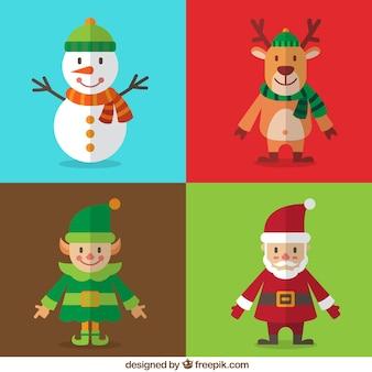 フラットなデザインでクリスマスの文字を笑顔のかわいいパック