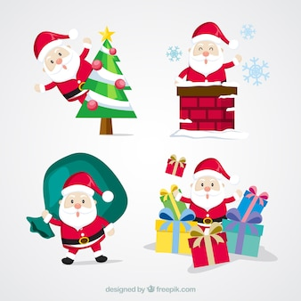 Cute pack of santa claus with christmas objects