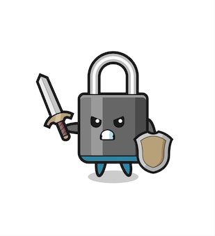 Cute padlock soldier fighting with sword and shield , cute style design for t shirt, sticker, logo element