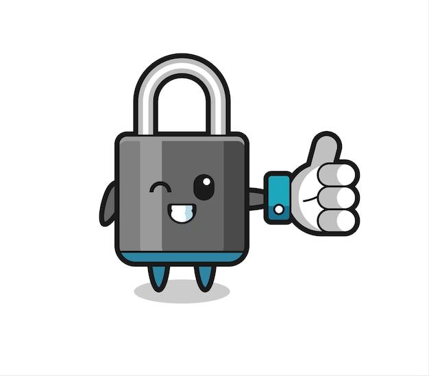 Симпатичный замок с символом больших пальцев в социальных сетях, милый стильный дизайн для футболки, наклейки, элемента логотипа