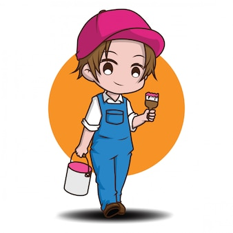 Cute painter man., cartoon job concept.