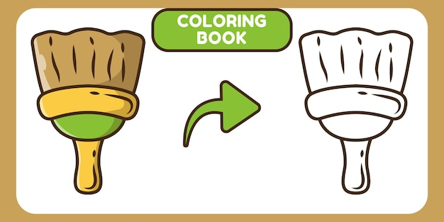Cute painting brush hand drawn cartoon doodle coloring book for kids