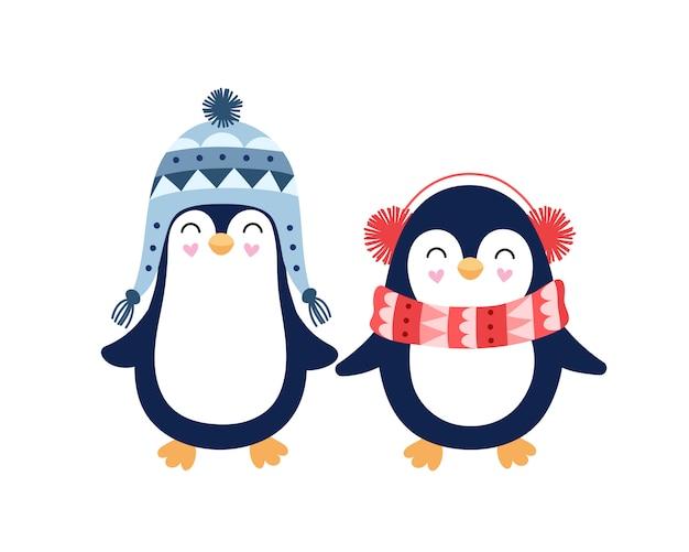子供用のかわいいペンギンのペア。