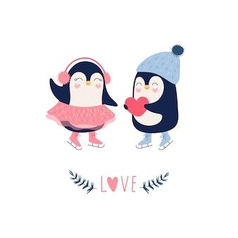 Cute pair of penguins on ice skates.