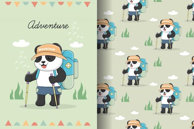 Симпатичные панды приключения пешие прогулки бесшовные модели и набор карт