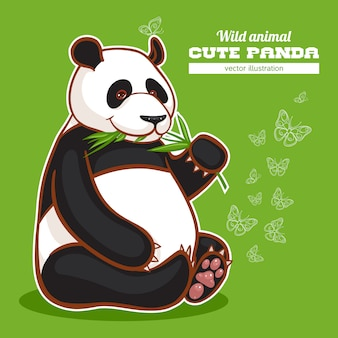 かわいいパンダと蝶