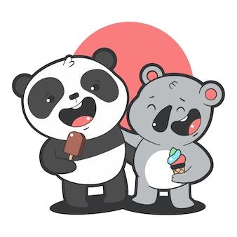 귀여운 팬더와 코알라는 아이스크림 만화 그림 흰색 배경에 고립 먹는다.