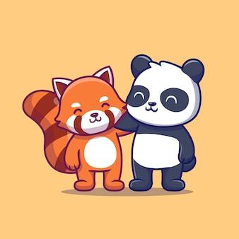 Милая панда и красная панда. друг животных