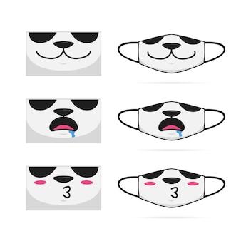 Смазливая панда животных мультфильм рот лицо маска набор дизайн