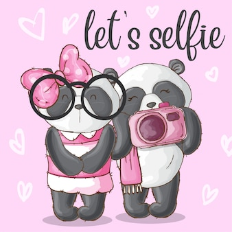 Cute panda animal couple-vector