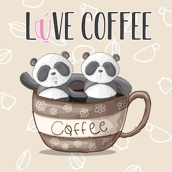 Cute panda animal on cup coffee-vector