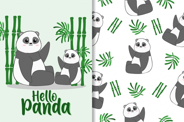 Cute panda animal hand drawn pattern set