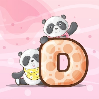 Cute panda animal letter alphabet-vector
