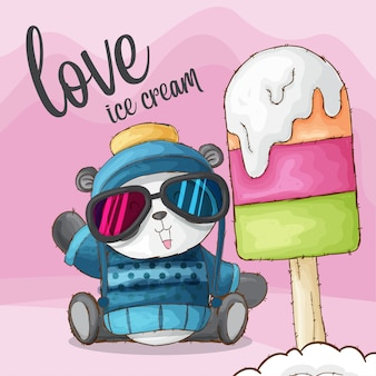 Cute panda animal love ice cream-vector
