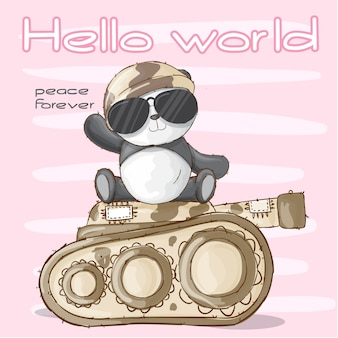 Cute panda animal military-vector