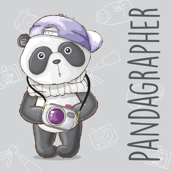 Cute panda animal photographer-vector