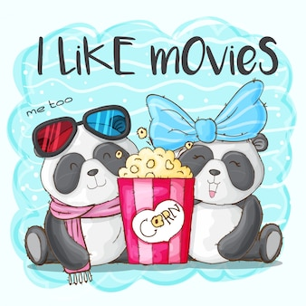 Cute panda animal and popcorn-vector