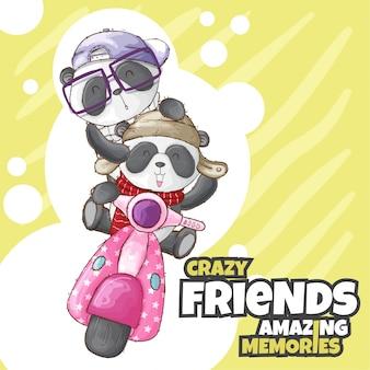 Cute panda animal on scooter-vector