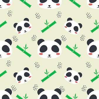 Cute panda animal vector seamless pattern background