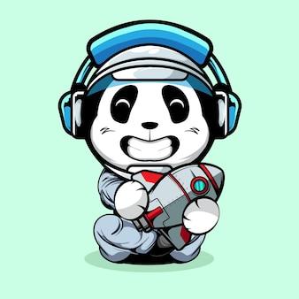 Игрушка-ракетка с милой пандой и астронавтом в руках