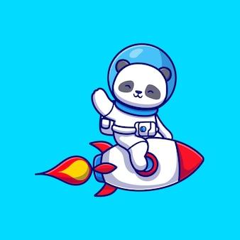 かわいいパンダ宇宙飛行士ロケットに乗って手を振る漫画ベクトルアイコンイラスト。動物技術アイコンコンセプト分離プレミアムベクトル。フラット漫画スタイル
