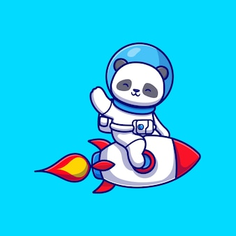 Cute panda astronauta equitazione razzo e agitando la mano del fumetto icona vettore. concetto di icona di tecnologia animale isolato vettore premium. stile cartone animato piatto