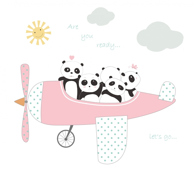 The cute panda baby with the plane to travel on holiday
