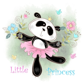 Cute panda ballerina dancing. little princess.