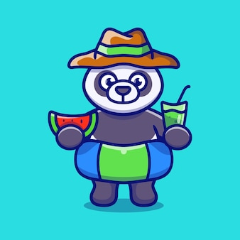 Cute panda in beach hat with swim rings carrying watermelon and drink